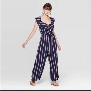 Xhilaration Blue Striped Jumpsuit